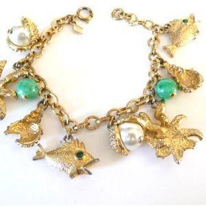 Vintage Sarah Coventry Beach Theme Charm Bracelet